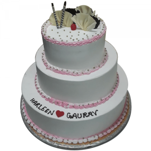 3 tier Grey cake with beautiful design on it, anniversary Cake