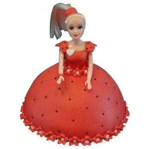 A doll cake with red dress, a beautiful cute kind adult cake