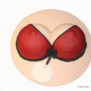 Boobs shaped Adult Bra Cake for both Bachelor Party as well as Bachelorette Party for Her as bra shaped cake