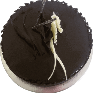 Brown cake with simple sophisticated decorations