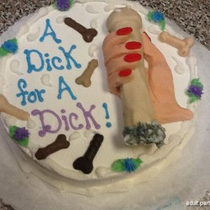 Dick in hand simulation on cake's face for party as bachelorette cake