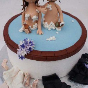 Horny Couple Sex cake showing lovers in a bowl with white ejaculation spread all over them, Couple cake of erotic cake type