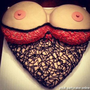 Bachelor electric cake for boys, a Cake with feminine net bra with both boobs up above the bra and nipples enjoying freedom
