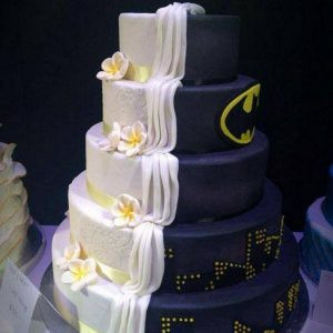Multi Tier Black and White Seduction Cake like milk flowing in terraced mannerfor Party Celebrations