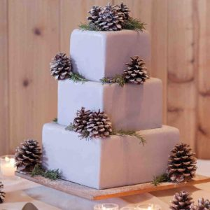 A square 3 terrace or three tier cake for friend in white and black look